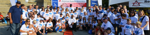 Group of people posing for a photo at American Diabetes Association's signature fundraising event, Step Out: Walk to Stop Diabetes