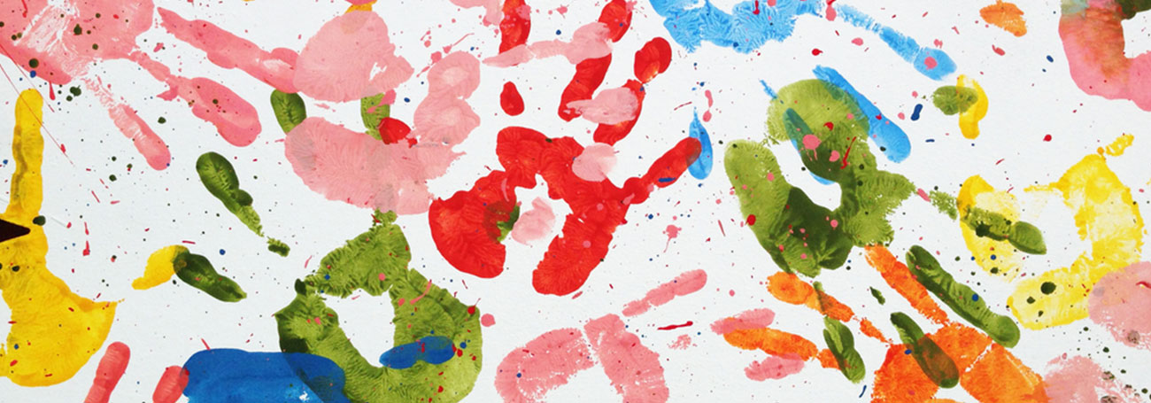 Colorful finger painting collage