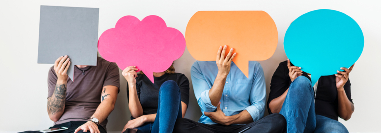 Group of people with speech bubbles covering their faces
