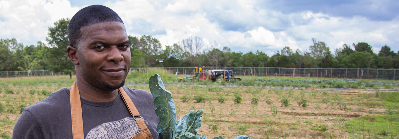 Chef Nick Wallace picking out produce at a Mississippi farm